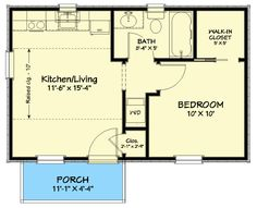 One Bedroom House Plans, Guest House Plans, Small Cottage House Plans, Cottage Floor Plans, Small House Floor Plans, Cottage Plan, Cabin Plans, Cottage Homes, Backyard Guest Houses