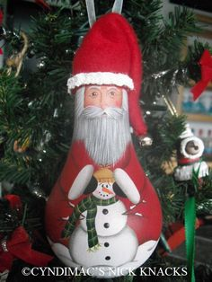 Santa with Snowman Lightbulb Ornament by CyndiMacsNickKnacks, $17.95