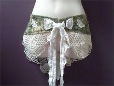 BURNING MAN BELT, tie up tapestry belt, womans white crochet belt   She is a…
