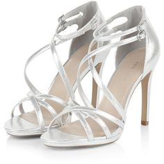 Silver Multi-Strap Heels (145 MXN) ❤ liked on Polyvore featuring shoes, pumps, heels and heel pump