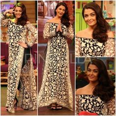 Aishwarya Rai Bachchan Manish Malhotra Ae Dil Hai Mushkil The Kapil Sharma Show. Shalwar Kameez, Churidar, Anarkali, Lehenga, Pakistani Outfits, Indian Outfits, Manish Malhotra Suits, Indian Designer Suits, Kurti Designs Party Wear