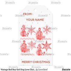 Shop Vintage Red Boy Girl Dog Love Christmas Holiday Gift Tags created by LeonOziel. Vintage Gifts, Vintage Shops, Christmas Holidays, Christmas Gifts, Holiday Gift Tags, Girl And Dog, Gift Wrapping Paper, Wedding Color Schemes, Dog Love