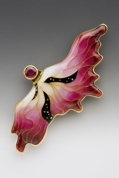 Wing Pin/pendant Enamel, 18k, 22k, and 24k gold, fine silver, and red sapphire One-of-a-kind