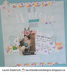 Sketches July 1 2017 challenge: Featured layout by Laurel 2017 Challenge, July 1, Sketch Design, Close To My Heart, Unicorn, Challenges, Sketches, Frame, Layouts