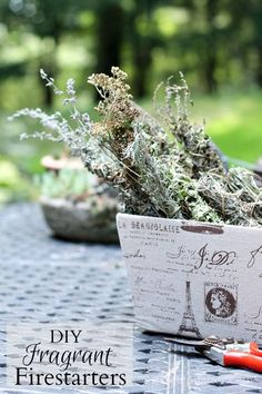 Gather fragrant clipping from your herbs to make wonderful firestarters for your home or as a gift.