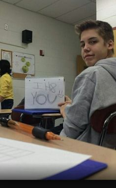 Jace) Cam took a picture of my letter to haters in class today