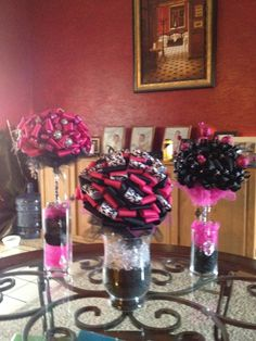 Pink Black And White Wedding Centerpieces | Hot pink and black Centerpieces by BecerraDREAMS on Etsy