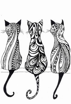 Tatouage chat : signification et Top 60 motifs de tattoo chat 85 adorable cat tattoos Colouring Pages, Adult Coloring Pages, Cat Coloring Page, Mandala Coloring, Coloring Sheets, Coloring Books, Tattoo Chat, Tattoo Ink, Hippie Drawing