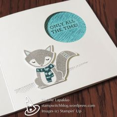 Hidden message card with Cozy Critters and Happy Happenings stamp sets from Stampin' Up!