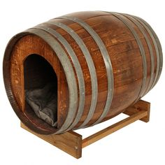 3 Important Things to Remember When Training Your Puppy Barrel Dog House, Wine Barrel Dog Bed, Diy Dog Bed, Dog Beds, Luxury Dog Kennels, Barrel Projects, Wine Tasting Room, Mini Farm, Wine Bottle Crafts