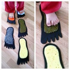 Feet sensory stepping stones! Use different feeling things in the shape of feet and encourage them to walk on them!