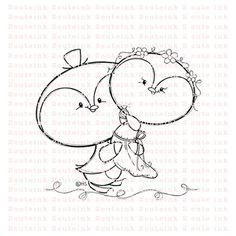 Tuxedo Penguin Wedding Digital Stamp by 2CuteInk on Etsy, $3.00