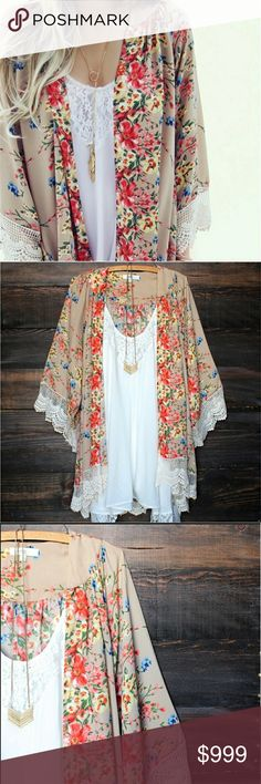 Floral Chiffon Kimono w Lace Trim Floral Printed Chiffon Women Kimono Shaw Cardigan 2017 Style ft Fringed Lace Hem Limited Quantity on First Batch! Size Chart Above Pre Sale Price Is Firm Unless Bundled MK Boutique Tops Blouses