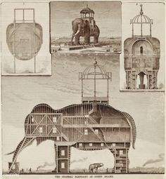 The Colossal Elephant of Coney Island published in 1885 in  Scientific American.    free image by rawpixel.com