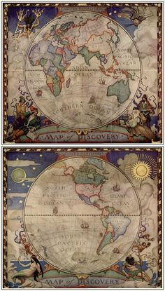 Maps of Eastern  Western Hemispheres by N.C. Wyeth for National Geographic, 1928