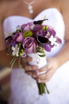 Bridal bouquet #purple flowers #wedding