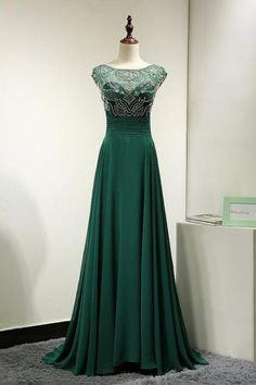 Sexy Backless Hunter Green Evening Dress, Sheer Neck Crystal Beaded Prom Party Dress Robe De Soiree Formal Gowns
