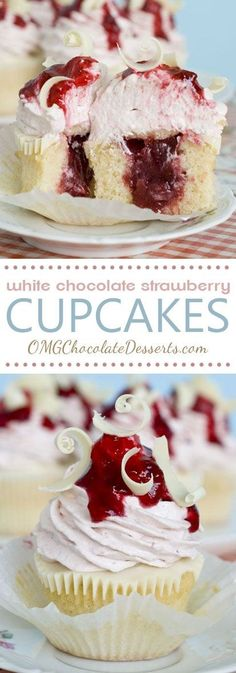 White Chocolate Strawberry Cupcakes ~ Vanilla cupcakes with strawberry filling topped with a layer of melted white chocolate and strawberry-white chocolate cream cheese frosting... absolutely delicious!