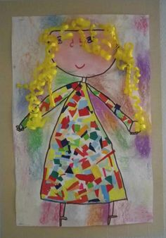 Ribbon hair, chalk pastel background, and paper scraps for the dress. Pebble Painting, Pebble Art, Stone Painting, Diy And Crafts, Crafts For Kids, Arts And Crafts, Goldilocks And The Three Bears, Rainbow Loom Charms, Classroom Art Projects