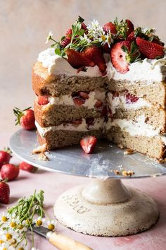 Strawberry Chamomile Naked Cake…because it's SPRING!Or it will be on Tuesday, so close enough. Just Desserts, Delicious Desserts, Yummy Food, Easter Desserts, Baking Recipes, Cake Recipes, Dessert Recipes, Nake Cake, Half Baked Harvest