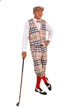 Outrageous Complete Golf Outfit describes this handsome apparel designed with camel burberry plaid golf knickers, cap, vest, and bow tie. Perfect for the golf course.