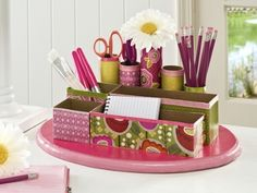 Fun DIY desk organizer using toilet paper rolls, tissue boxes, soap boxes, and much more!