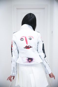 Susie Bubble in Claire Barrow painted leather biker jacket and Comme des Garcons skirt and top