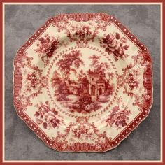 RED & CREAM TRANSFERWARE VICTORIAN COUNTRY TOILE PLATE ~Octagonal Shape~ | eBay