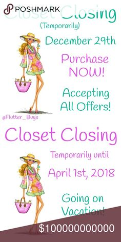 Closet Closing Temporarily on December 29th I will be Closing Temporarily on December 29th thru April 1st, 2018. Please feel free to make an offer. I'm accepting all reasonable offers. I will be revamping my Closet, so going to get rid of some items. I will still be online sharing my PFF's Closet's and around in general. Just not selling for 3 months while I am away in Florida. Just can't do the Winter's anymore! Happy Holidays & Merry Christmas! 🎄🎁 ✌️💕 Other