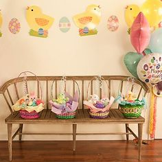Easter baskets - so precious lined up on a bench