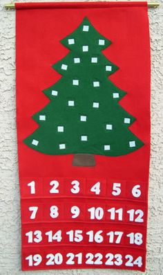 advent calendar--in the pockets are colorful felt & sequin ornaments