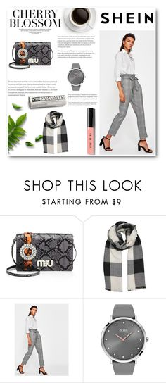 """""""SHEIN"""" by neiracilovic-i ❤ liked on Polyvore featuring Miu Miu, BOSS Black and Bobbi Brown Cosmetics"""
