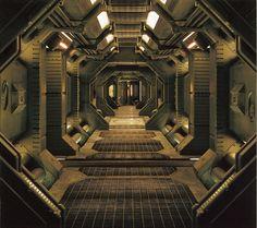 Stock Photo - Interior of an industrial or spaceship corridor