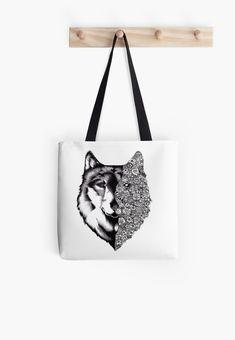 'Floral Wolf Design' Tote Bag by Rockyvillaruel, Summer Tote Bags, Best Tote Bags, Diy Tote Bag, Diy Bags, Diy Purse, Fabric Tote Bags, Reusable Tote Bags, Stylish School Bags, Tote Bag Organizer