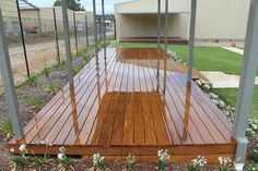 Hardwood Tonka timber deck over Boxspan steel frame. This deck is on display at the Spantec display centre near Mittagong NSW- Boxspan Steel Framing Supplies are manufactured within our factory at this location.