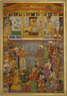 Art in Space: Payag: The Padshahnama plate Mughal Emperor Jahangir presents Prince Khurram with a turban ornament Mughal Miniature Paintings, Mughal Paintings, The Queen's Gallery, The Royal Collection, King Of The World, Mughal Empire, India Art, Illuminated Manuscript, Islamic Art