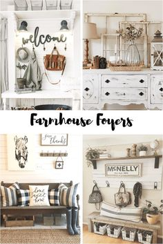 How to decorate a farmhouse foyer on a budget. Deciding whether to use a bench or a table in your decor and how to decorate each.