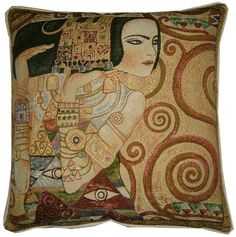 Gustav Klimt - Expectation - Gold Metallic Tapestry Cushion Pillow Cover Sham via Etsy.