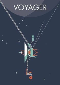 Voyager 1 & 2 - Two NASA space probes, one grand tour of the solar system - Jupiter, Uranus, Saturn and Neptune. Space Probe, Space Illustration, Travel Illustration, Space And Astronomy, Nasa Space, Poster Design, Vintage Space, Carl Sagan, Space Travel