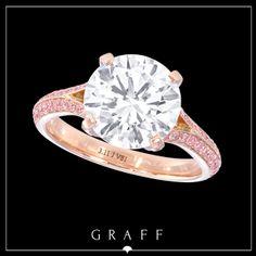 """Signature Style"" 3.11ct Round Diamond Ring with Pink Pavé Shank…"