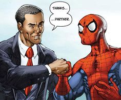 Obama / Spiderman Fist Bumpin' [Spiderman issue 538]