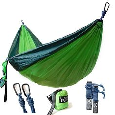Winner Outfitters Double Camping Hammock Lightweight Nylon Portable Hammock Best Parachute Double Hammock For Backpacking Camping Travel Beach Yard. x Dark Green/Green Color Best Camping Hammock, Backpacking Hammock, Portable Hammock, Camping 101, Backpacking Gear, Camping Essentials, Camping And Hiking, Camping Stuff, Kayak Camping