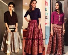 6 Sassy Ways To Give Your Traditional Indian Skirts A Funky Twist Party Wear Indian Dresses, Designer Party Wear Dresses, Indian Gowns Dresses, Long Skirt With Shirt, Long Skirt And Top, Long Skirts, Long Skirt Fashion, Casual Skirt Outfits, Stylish Dresses