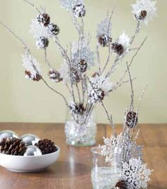 A snowy branch and pine cone arrangement is a great holiday decoration you can leave out all winter! Holiday Wreaths, Holiday Crafts, Holiday Decor, Winter Christmas, Christmas Holidays, Christmas Ideas, Snowflake Centerpieces, Diy Centerpieces, Homemade Christmas Decorations