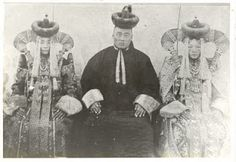 Khalkha Mongolian noble man and two women (maybe his wives). Late 19th- early 20th century photo, Mongolia