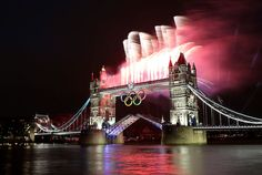 Fireworks at Tower Bridge in London before the opening ceremony of the 2012 Summer Olympics - NYTimes.com
