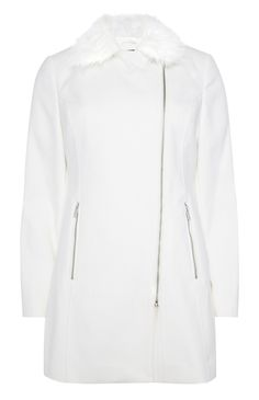 Not everyday has to be dark outerwear in winter- White Faux Fur Collar Coat