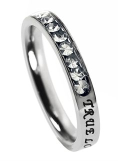 "Princess Birthstone April-Diamond ""True Love Waits"" Christian Purity Ring, 1 Timothy 4:12  Would want SO much for Christmas!!-Jess"