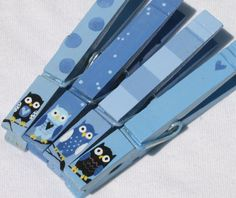 BABY BLUE OWLS hand painted magnetic clothespins by SugarAndPaint, $10.00
