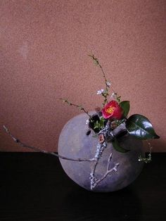 Ikebana Asian style flower arrangement by Atsushi, Japan